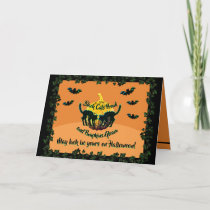 Black Cats Prowl and Pumpkins Gleam Greeting Card