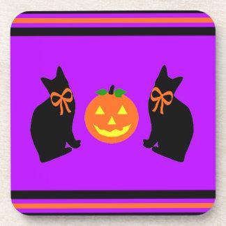 """""""Black Cats & Pumpkins"""" Coaster Set"""