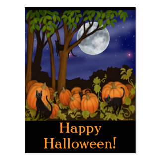 Black Cats & Pumpkins Halloween Postcard
