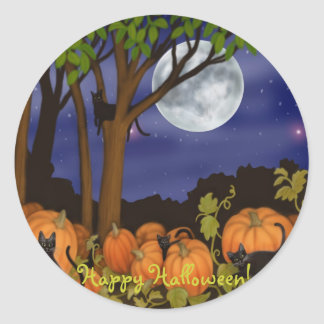 Black Cats & Pumpkins Halloween Sticker