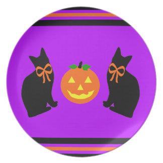 """Black Cats & Pumpkins"" Plate"