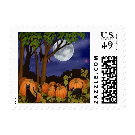 Black Cats & Pumpkins Postage