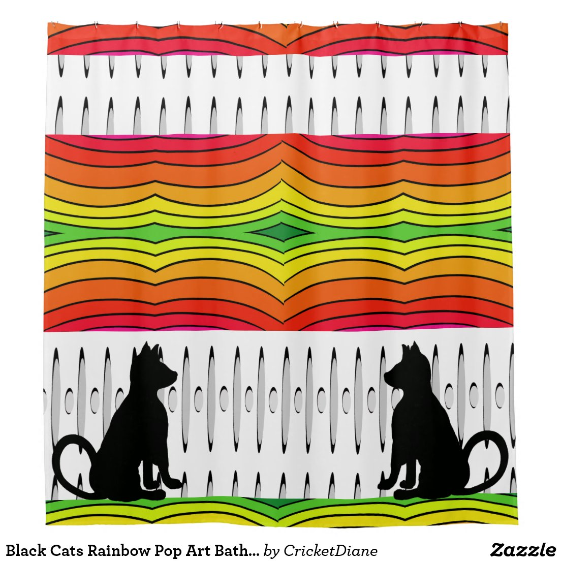 Black Cats Rainbow Pop Art Bath CricketDiane Shower Curtain