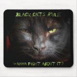 Black cats rule mouse pad