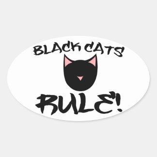 Black Cats RULE Oval Sticker