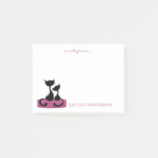 Black Cats Silhouette on Rose Pink Box Monogram Post-it Notes
