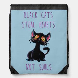 Black Cats steal Hearts Not Souls Drawstring Bag