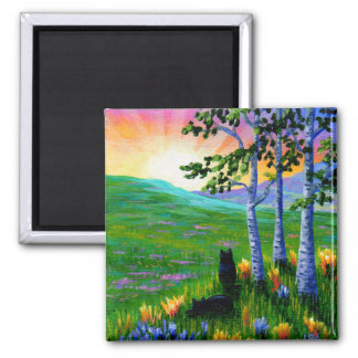 Black Cats Sunset Birch Trees Creationarts 2 Inch Square Magnet