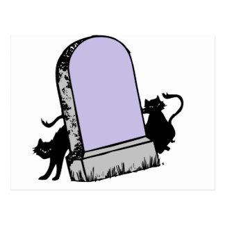 black cats tombstone postcard