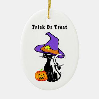 Black Cat's Trick or Treat Ceramic Ornament