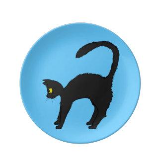 Black Cats Two Plate Porcelain Plates