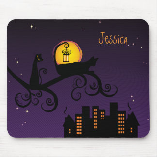 Black Cats Viewing The City At Night Mousepad