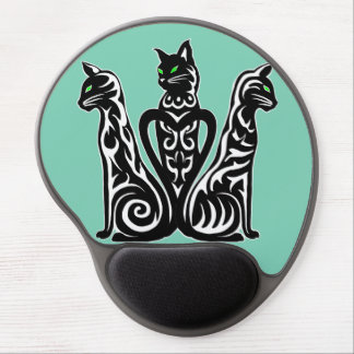black cats, white stripes, abstract design gel mouse pad
