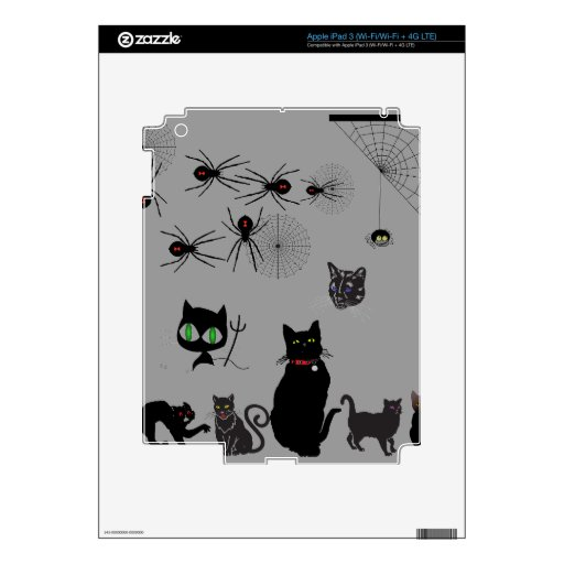 Black Cats & Widow Spiders Skin For iPad 3