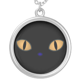 Black Cats With Big Orange Eyes Silver Plated Necklace