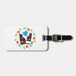 Black cats with hearts and flowers luggage tag