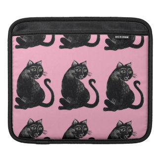 Black Cats with Pink Background iPad Sleeve