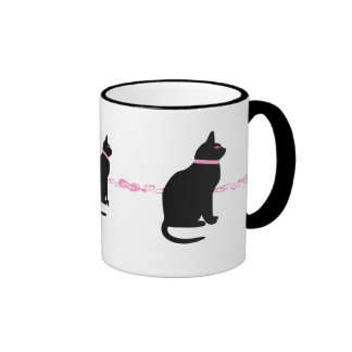 Black cats with pink eyes mugs