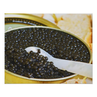 Black caviar and a spoon of mother-of-pearl to poster