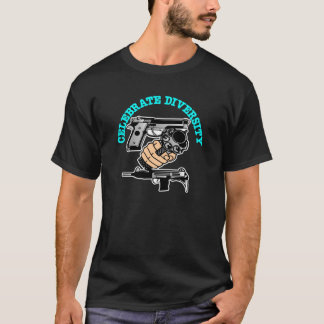 Black Celebrate Diversity Guns T-Shirt