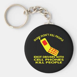 Black Cell Phones Kill People Keychain