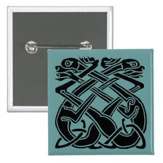 Black Celtic Dogs 2 Inch Square Button