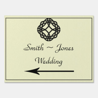 Black Celtic Eternity Knot Wedding Direction Sign