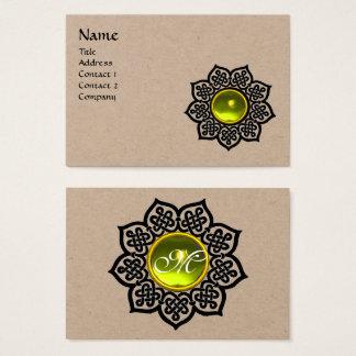 BLACK CELTIC FLOWER YELLOW TOPAZ GEM MONOGRAM BUSINESS CARD