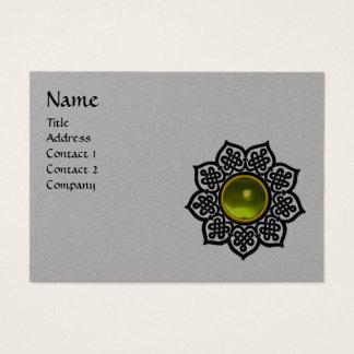 BLACK CELTIC FLOWER YELLOW TOPAZ GEM MONOGRAM Grey Business Card