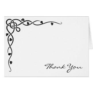 Black Celtic Knot Corner Vine Thank You Greeting Cards
