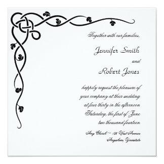 "Black Celtic Knot Corner Vine Wedding Invitation 5.25"" Square Invitation Card"