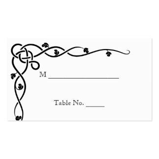 Black Celtic Knot Corner Vine Wedding Place Cards Double-Sided Standard Business Cards (Pack Of 100)