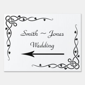Black Celtic Knot Corner Wedding Direction Sign