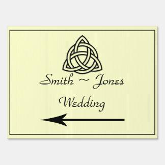 Black Celtic Knot Wedding Direction Sign