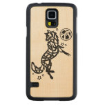 Black Celtic Tribal Wolf Carved Maple Galaxy S5 Case