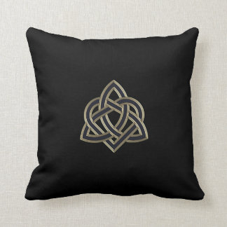 Black Celtic Trinity Heart Knot Throw Pillow
