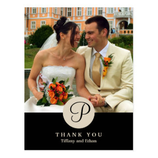 Black center classic monogram photo thank you note postcard