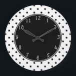"""Black center with Small Black Polka dots white bac Large Clock<br><div class=""""desc"""">Chic Small Black Polka dots white background black circle   Black dots on white color background   circles,  dotty folk-art</div>"""