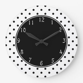 Black center with Small Black Polka dots white bac Large Clock