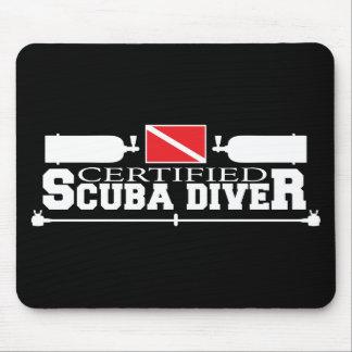Black Certified Scuba Diver Mouse Pad