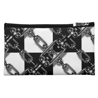 Black  Chain Link Gingham cosmetic bag or purse