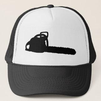 black chainsaw trucker hat
