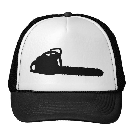 black chainsaw trucker hat