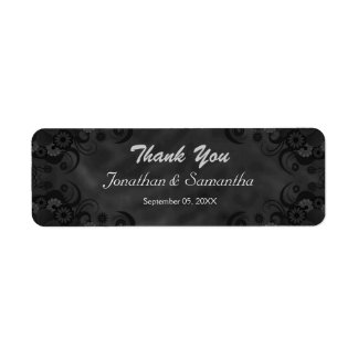 Black Chalkbaord Floral Small Wedding Favor Labels