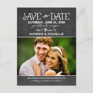Black Chalkboard Charm | Photo Save the Date Announcement Postcard