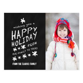 BLACK CHALKBOARD CHRISTMAS PHOTO GREETING POSTCARD