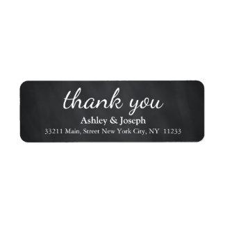 Black Chalkboard Custom Monogram Thank You Label