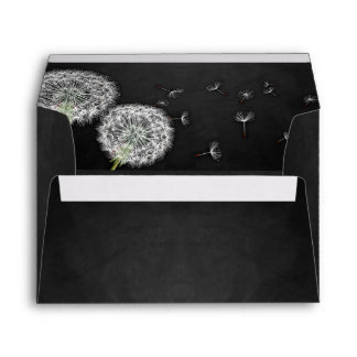 Black Chalkboard Dandelion Wedding Envelopes