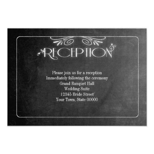 Black Chalkboard Elegant Reception Card