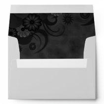 Black Chalkboard Floral Elegant Wedding Envelopes